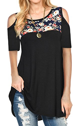 Shoulder Cold Top Floral (Hibluco Women's Casual Long Sleeve Blouse Floral Shirt Cold Shoulder Tunic Tops (XX-Large, 2 Black))