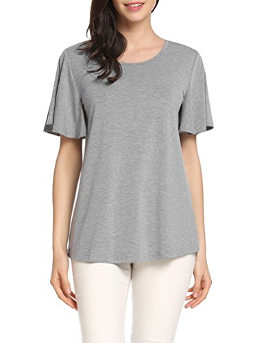 Gray T-shirt Tee - Locryz Womens Summer Loose Short Sleeve T-Shirts Tops Casual Round Neck Batwing Sleeve Tee Shirt (Gray, M)