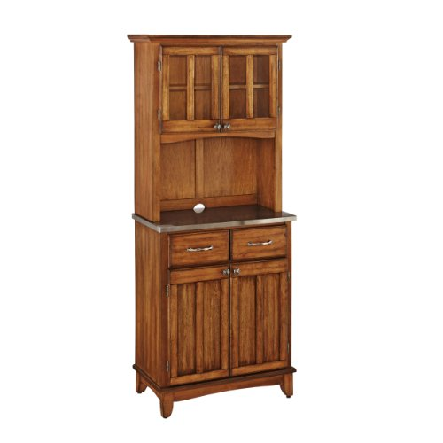 Buffet of Buffet Cottage Oak with Stainless Steel Top with Hutch by Home Styles