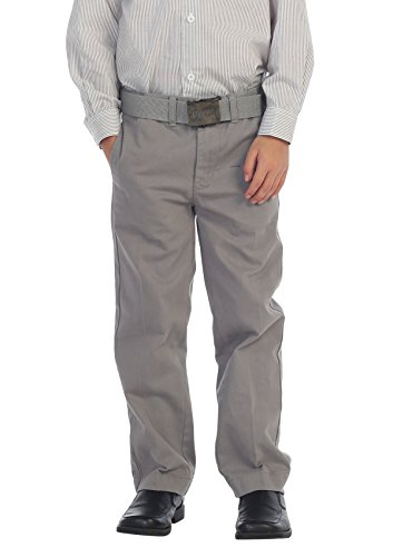Gioberti Boys Belted Flat Front Twill Pants, Light Gray, 8 (Grey Front Trousers Flat)
