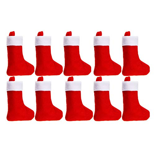 TWGONE 10 PC Personalised Christmas Red Stocking Luxury Sack Deluxe Xmas(11x7cm,Red)