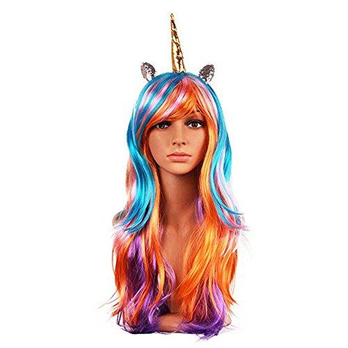 Custome Wigs (Netgo Colorful Rainbow Halloween Custome Wig with Unicorn Horn And Ears)