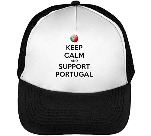 Keep Calm Support Portugal Gorras Hombre Snapback Beisbol Negro Blanco