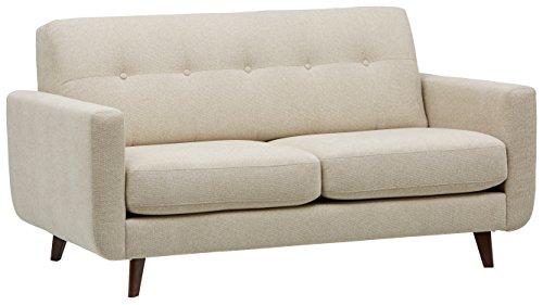 "Rivet Sloane Mid-Century Tufted Modern Sofa, 64"" W, Shell"