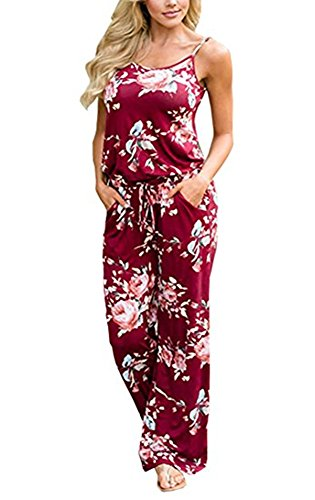 Xuan2Xuan3 Women Sexy Sleeveless Spaghetti Strap Waist Tie Floral Print Wide Leg Long Pant Casual Loose Jumpsuit Romper (Large, Wine Red)