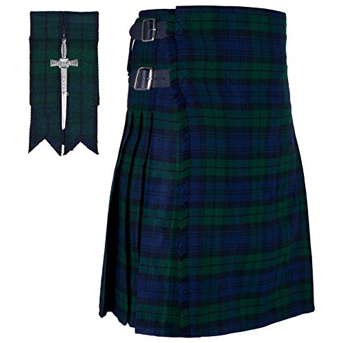 KILTSHOP- Scottish Tartan Black Watch Kilt with Gift of Flashes & Kilt Pin (Belly Button 42)
