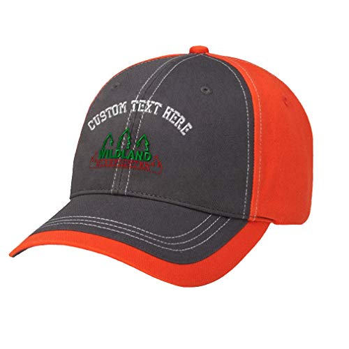 Custom Text Embroidered Wildland Firefighter Richardson Contrast Adjustable Cap Charcoal/Orange