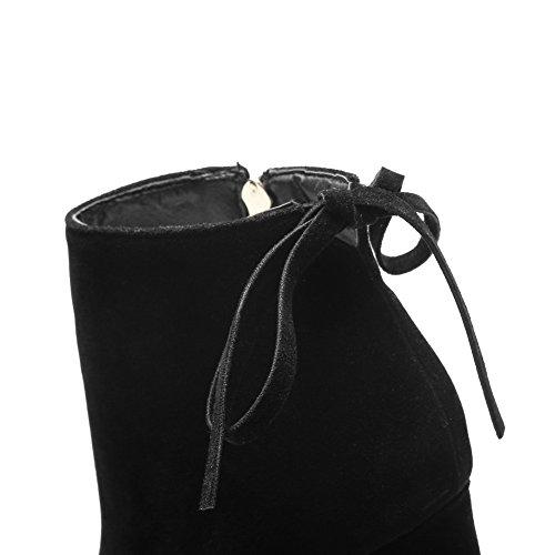 BalaMasa Girls Chunky Heels Winkle Pinker Zipper Frosted Boots Black Dd1LRrBOp1