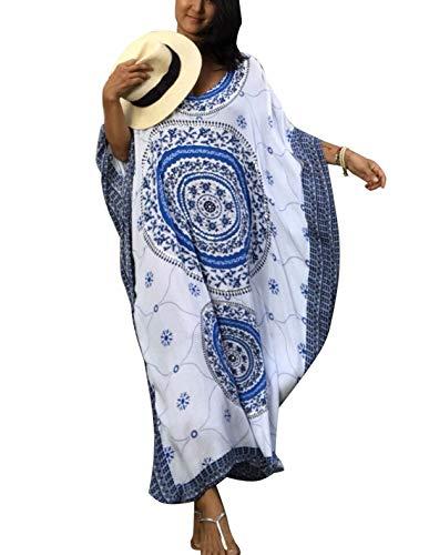 Ailunsnika Women Rayon Blue Swimsuits Cover Up Loose V Neck Batwing Sleeve Ethnic Print Caftan Beachwear Dress