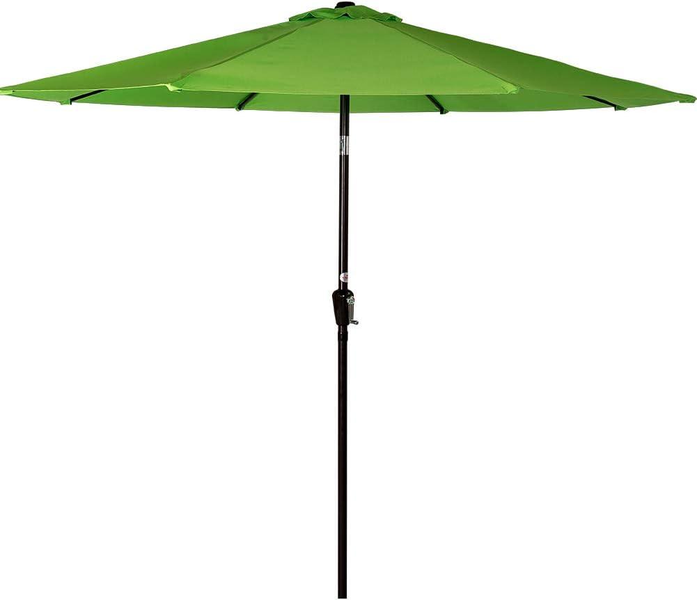 Sundale Outdoor 10 Feet Aluminum Market Umbrella Table Umbrella with Crank and Push Button Tilt for Patio, Garden, Deck, Backyard, Pool, 8 Steel Ribs (Apple Green)