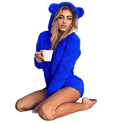 Okvpajdo Women Sherpa Fleece Pajama Suit Hooded Cute