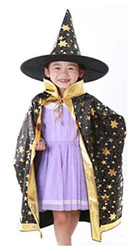Party Halloween&Christmas Dance Party Hat Wizard&Witches Hat/Cloak Black by Panda Superstore (Image #2)
