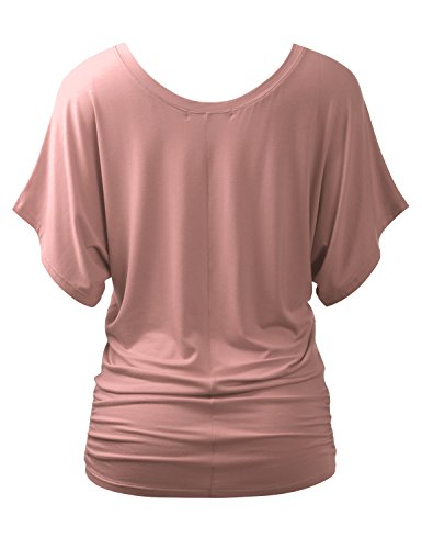 ALL FOR YOU Women's Round-Neck Kimono Dolman Short Sleeve Top Dusty Pink Medium Photo #4
