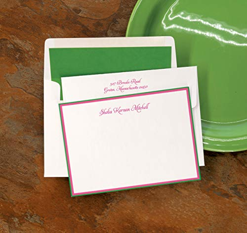 Hot Pink/Kelly Green Double Hand Bordered Cards - Set of 25-4047