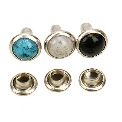 JETEHO 150 PCS Crystal Rapid Rivets Blue Turquoise Spots Studs Double Cap Leathercraft Clothes Accessory Decor, 7 ()