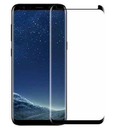 EiZiTEK EiZiLite Series 0.33mm Durable Best Quality Samsung Galaxy S8 [ S 8 ] Curved Case Friendly (Partial Coverage) Tempered Glass Screen Protector . (Black: 1 Galaxy S8 Case Compatible )