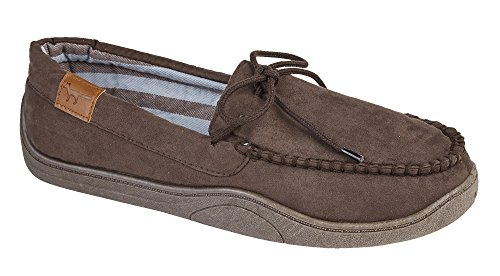 Mens New Hampshire Faux Suede Fur Lined Moccasin Slippers Shoes Size 7-12 Anthony Brown u0pfGCWt