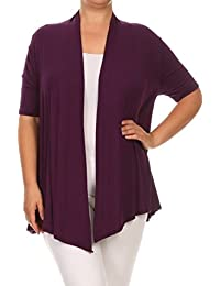2LUV Plus Women's Plus Size Short Sleeve Long Body Open Front Cardigan
