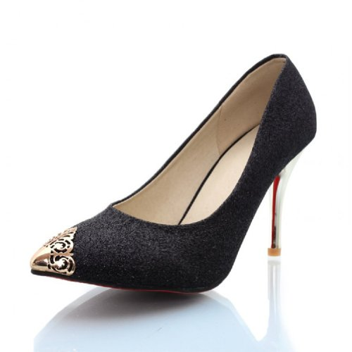 Charm Foot Fashion Sequins Womens Mary Jane High Heel Pumps Dress Shoes Black GEPKlPdn