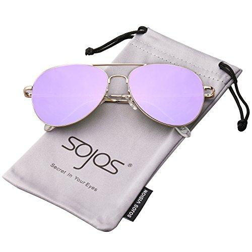 C7 Sj1030 Cadre Classique Or De Soleil Pilote violet Mirror Spring Avec Lentille Charnières Métal Sojos Lunettes qUO7t