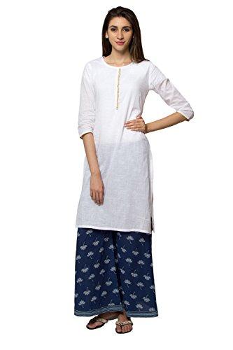 Ethnicity Women's Indian Pure Cotton Summer Style White Kurta Tunic; SM; White by In-Sattva