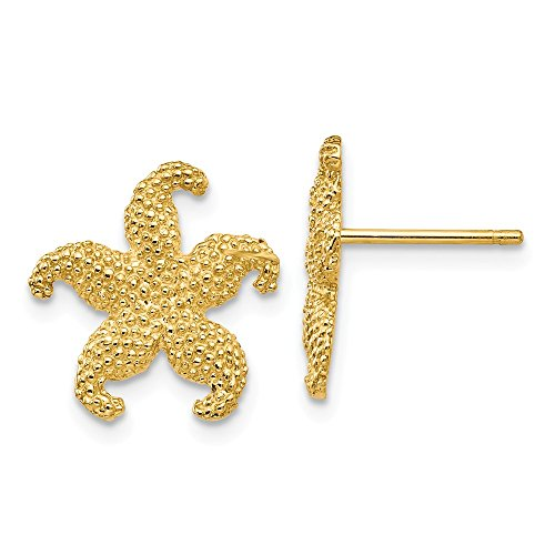 14k Gold Starfish Earrings - Roy Rose Jewelry 14K Yellow Gold StarFish Post Earrings 15mm length