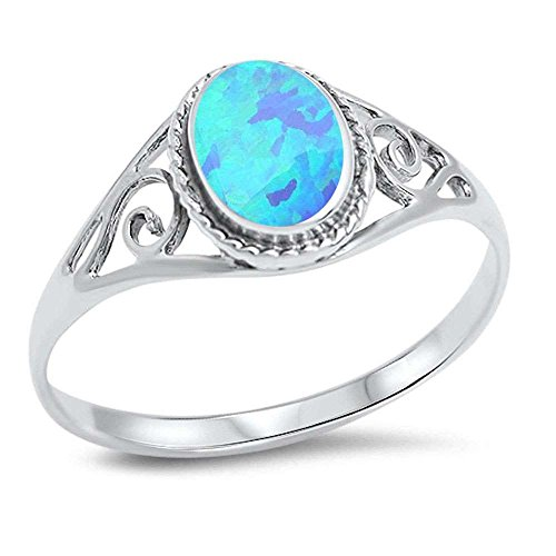 Oxford Diamond Co Sterling Silver Oval Simulated Gemstone Filigree Antique Style Ring Sizes 4-12 (Lab Created Blue Opal, 6) ()