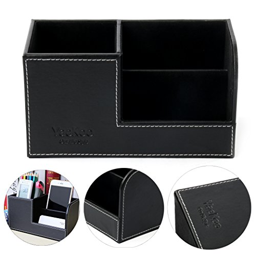 Yaekoo 3 Slot PU Leather Desk Remote Controller Holder Organizer; Home Sundries Storage Box; TV Guide/Mail/CD Organizer/Caddy/Holder with Free Cable Organizer (Black) - Leather Three Section