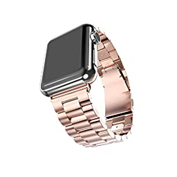 For Apple iWatch Band 38MM, Rosa Schleife Apple Watch Band Stainless Steel Strap Wristband with Metal Clasp Classic Buckle Wrist Watch Strap Bracelet for Apple Watch Sport & Edition (Not Fit 42mm)