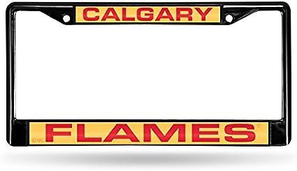 Rico Industries NHL Laser Cut Inlaid Standard Chrome License Plate Frame Black