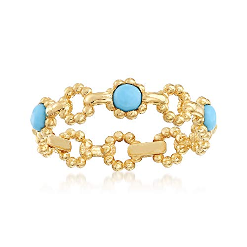 Ross-Simons Italian Simulated Turquoise Ring in 14kt Yellow Gold