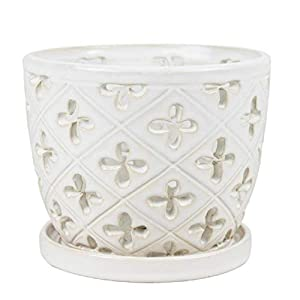 Orchid Pot with Saucer White