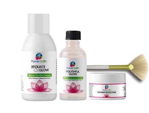 Planet Eden 30% Glycolic Acid Chemical Skin Peel Kit + Glycolic Acid Pre-Peel Cleanser + Antioxidant Recovery Cream + Treatment Fan Brush by Planet Eden