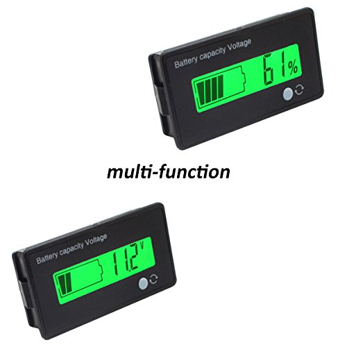 Gel Battery Voltage (12V Lead Acid Battery Capacity Meter Voltage Tester Multifunction Voltmeter Battery Capacity Indicator for AGM, GEL, SLA)