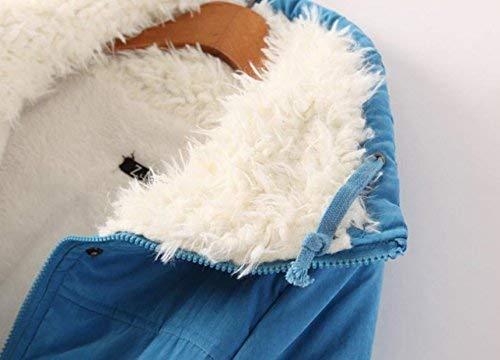 Longues Roul clair De Hipster Longues Mode Hiver Style Blau Cordon Serrage avec Synthtique Spcial Hiver Manches Manteau Col Doublure Manteau Parka Veste lgant Automne Fermeture Fourrure Femme Hiver Sw1XtX