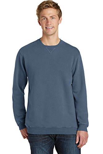 Port & Company Drop Ship - PC098 Essential Pigment-Dyed Crewneck Sweatshirt, Denim Blue, XL