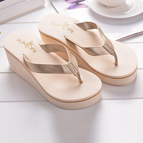 Talon Femme 1 de Beige en Chaussures Antidérapantes Plage d'été Pantoufles Haut de Shujin Tongs S8wqaxf