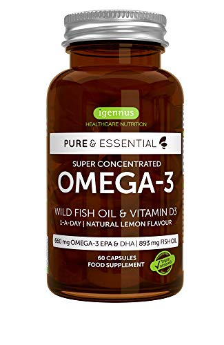 Pure & Essential Omega-3 & Vitamin D3 1000iu, Super Concentrated EPA & DHA Wild Fish Oil, Fast-Acting rTG, 1-a-Day, 60…