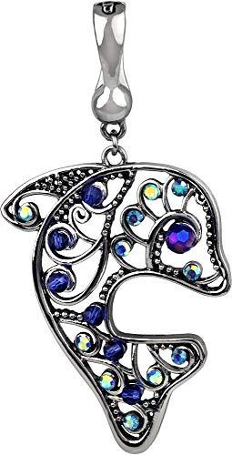 - Wearable Art by Roman Blue Rhinestone Dolphin Pendant Silver Tone/Blue Multi