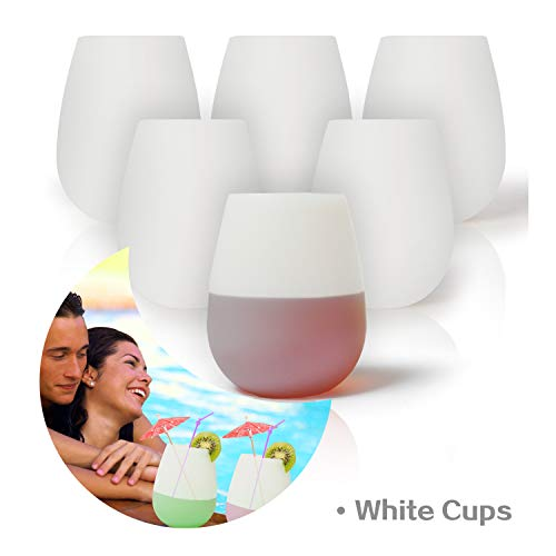 KindGa Silicone Wine Glasses Unbreakable Stemless Outdoor Rubber Wine Cups,100% Silicone Dishwasher Safety - Foldable Shatterproof Party Cups for Travel Camping Pool Picnic/ 12 oz (White, 6)