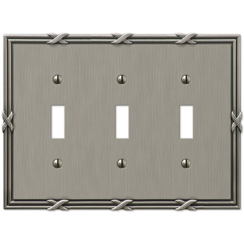 Amerelle 44TTTAN Ribbon and Reed 3 Toggle Wallplate, Antique Nickel