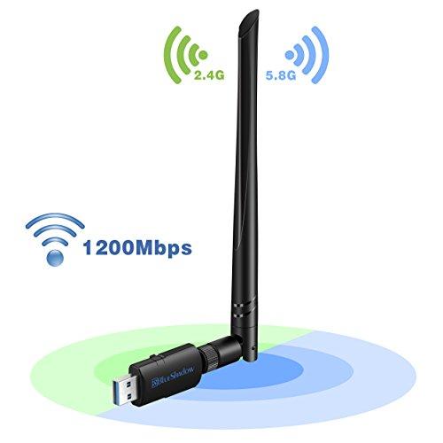 Blueshadow USB Wifi Adapter - Dual Band 2.4G/5G Mini Wi-fi ac Wireless Network Card Dongle with High Gain Antenna For Desktop Laptop PC Support Windows XP Vista/7/8/8.1/10 (USB Wifi 1200Mbps) Networking Wireless Usb