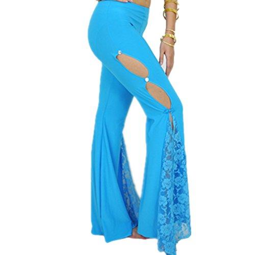 Women's Jazz Lace Floral Wide Leg Slit Pants Lace Flared Long Pants Belly Dance Pants Side Slit Design(Lake (Dancing Lady Stems)