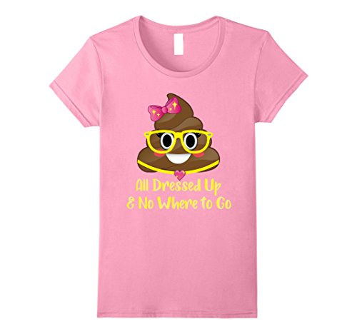 41VVoHPupRL Womens Emoji Poop All Dressed up and No Where to Go Miss Poo Shirts XL Pink