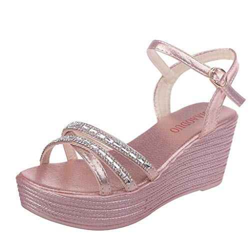 (Save 15% BBesty Women's Summer Crystal Wedge Beach Rhinestone Crossover Wedges Open Toe Sneakers Sandals Peep Toe Shoes Pink)