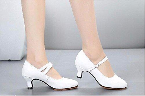 SQIAO-X- Ballo latino _ scarpe di pelle nuova Scarpa danza latino Kraft scarpe da ballo Square Dance Scarpe Donna fondo morbido, High-Heeled, nero (5,5 cm),40