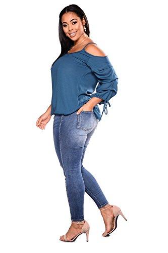 pantalón de jean Elástico Dunland ajustados pitillo alta de Plus estiramiento pantalones cintura tamaño Rasgada mujeres xf7wf1Pq0