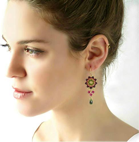 Handmade Colorful Chandeiler Swarovski Crystal Beaded Earrings
