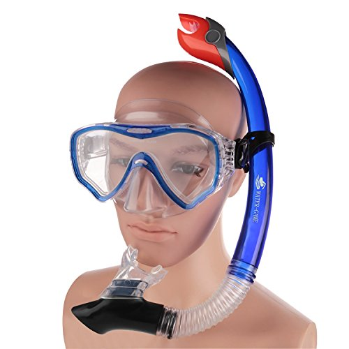 Swimmer's Professional Goggles with Snorkle Tempered Glass Lens No Leaking Goggles Anti-fog Silicone Mouthpiece Adjustable Edge Buckle