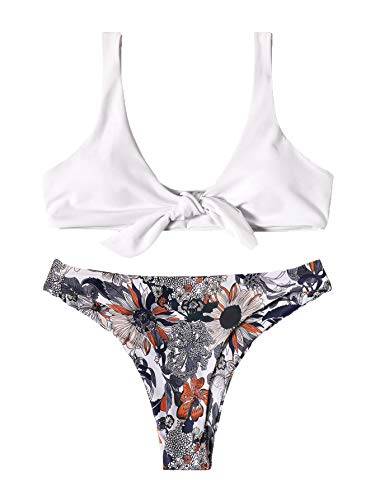 SweatyRocks Women's Bikini Set Tie Knot Front White Top Floral Print Swimsuit High Waist Swimwear